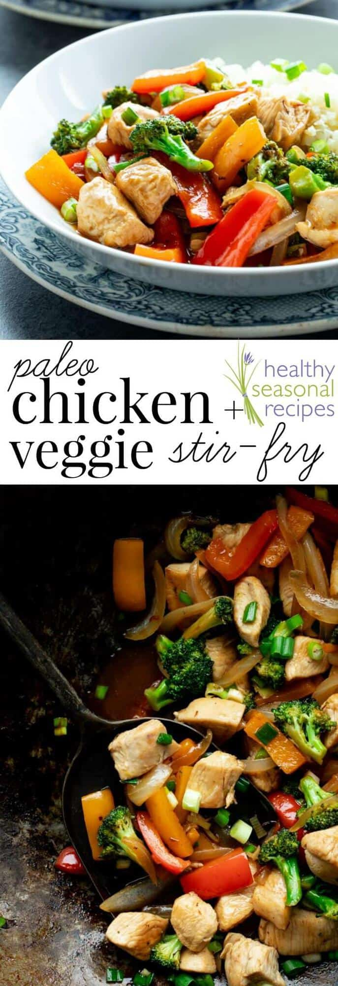 Forget about take-out! This easy and healthy Chicken and Veggie Stir-fry is a 30 minute veggie-heavy dinner the whole family will love. It\'s grain-free and soy-free so that means it\'s Paleo friendly! It\'s loaded with broccoli, peppers and boneless skinless chicken breast. #paleo #stirfry #chicken #healthy #easy #30minuterecipe #dinner #entree #broccoli #peppers #veggies #chickenandveggies #grainfree #soyfree