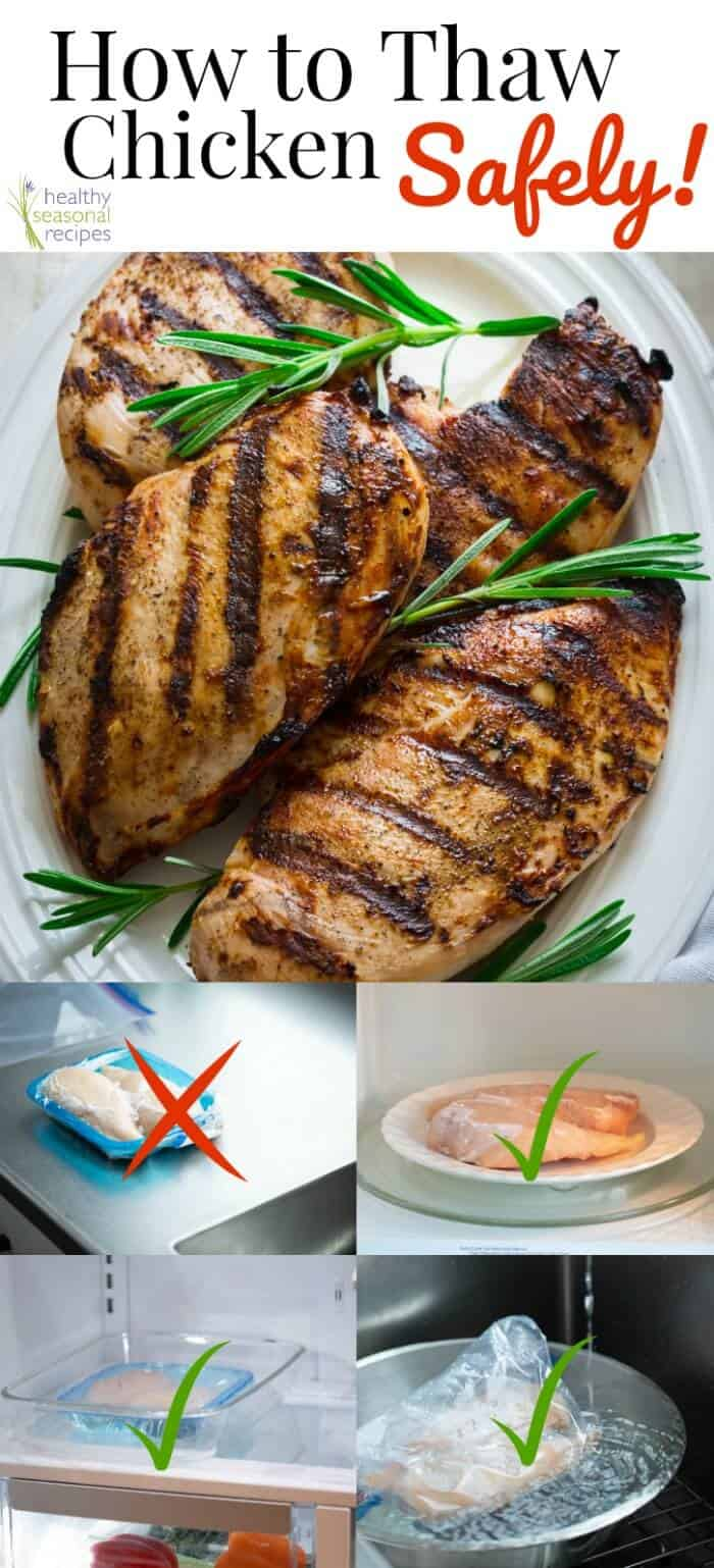 Stop! Don\'t leave that frozen chicken on the counter. Here\'s How to Thaw Chicken Safely! Keep your family safe by trying one of these three methods. #healthyseasonal #foodsafety #familyfriendly #chicken #culinarytip