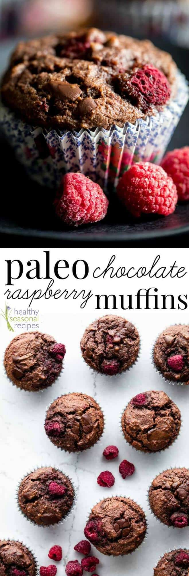 These Paleo Chocolate Raspberry Muffins are a healthy Valentines Day Snack or breakfast. They grain-free and 100% dairy-free! Super light and they contain 2 cups of frozen raspberries, so they have 4 grams of fiber each. Plus 6 grams protein! #paleo #muffin #snack #chocolate #raspberries #valentinesday #healthy #snack #breakfast #baking