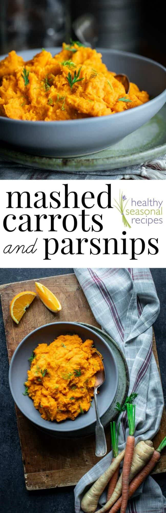 Mashed Carrots and Parsnips, a healthy paleo Irish side dish. This version is dairy-free and also has the addition of orange in it! #healthyseasonal #irish #parsnips #carrots #sidedish #paleo #glutenfree #grainfree #dairyfree
