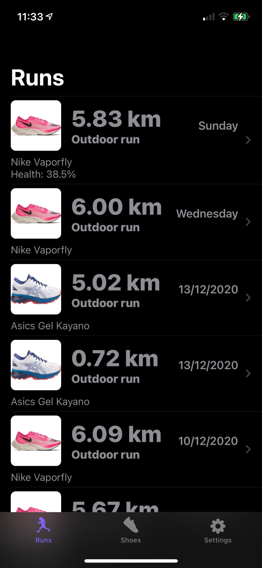 Track how far you have run in your favorite shoes - automatically!