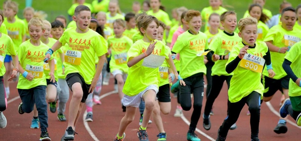 Young people taking part in the schools half marathon