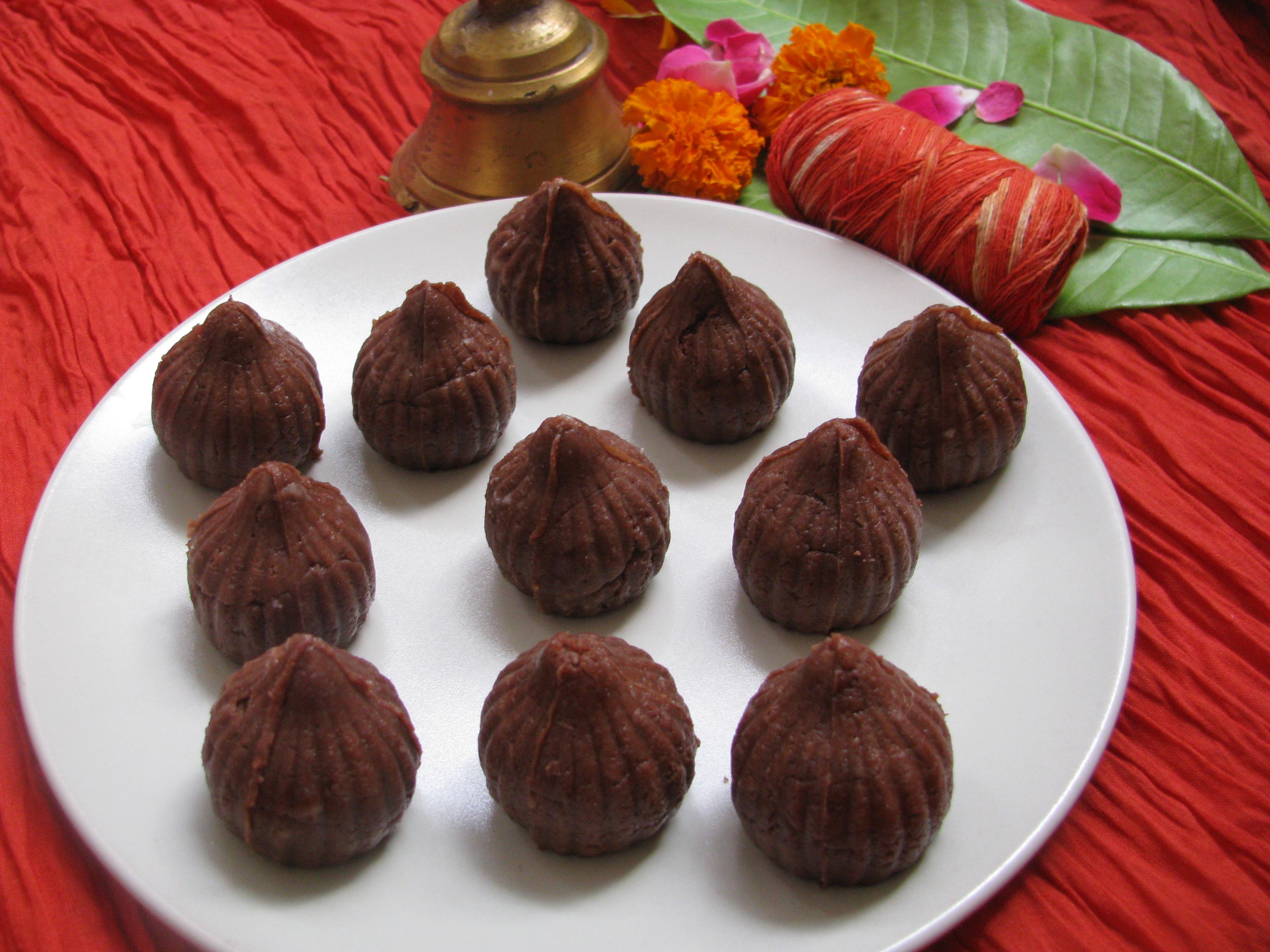 Chocolate Modak Recipe | How To Make Chocolate Modak from Khoa or Chenna