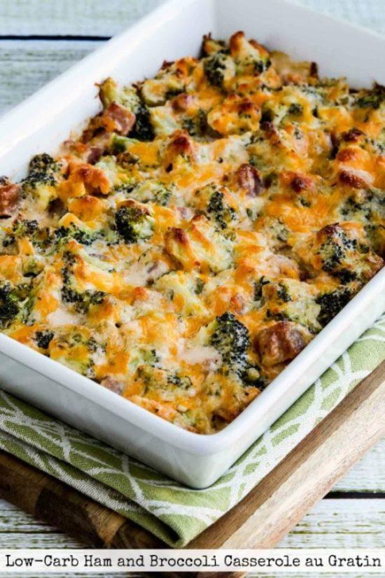 Low-Carb Ham and Broccoli Casserole au Gratin