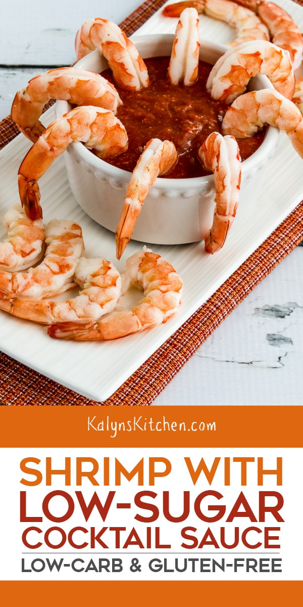 Pinterest image of Shrimp with Low-Sugar Cocktail Sauce