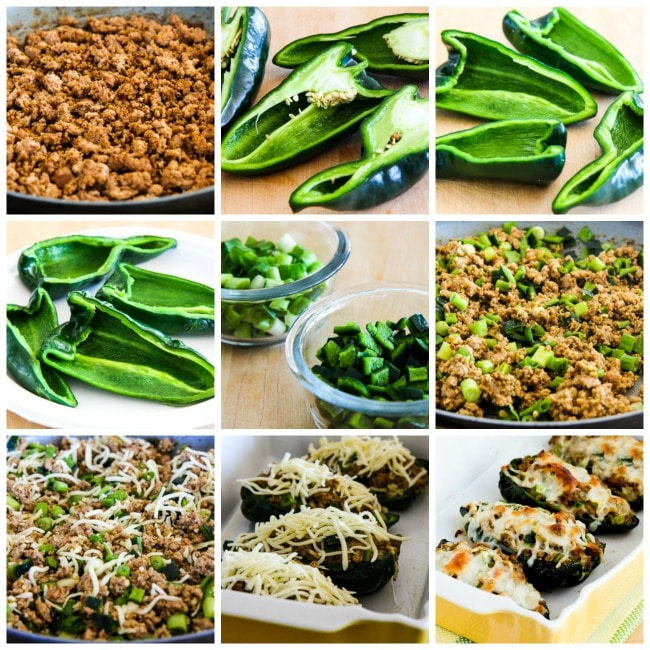 Cheesy Stuffed Poblanos with Ground Turkey process shots collage