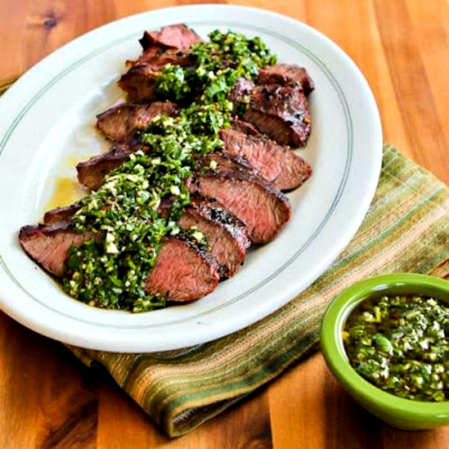 Grilled Flat Iron Steak with Chimichurri Salsa