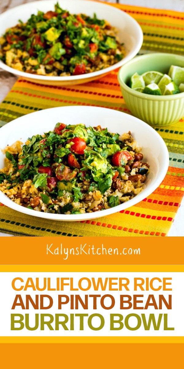 Pinterest image of Cauliflower Rice and Pinto Bean Burrito Bowl