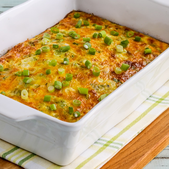 Green Chile and Cheese Keto Breakfast Casserole thumbnail image of finished breakfast casserole in baking dish