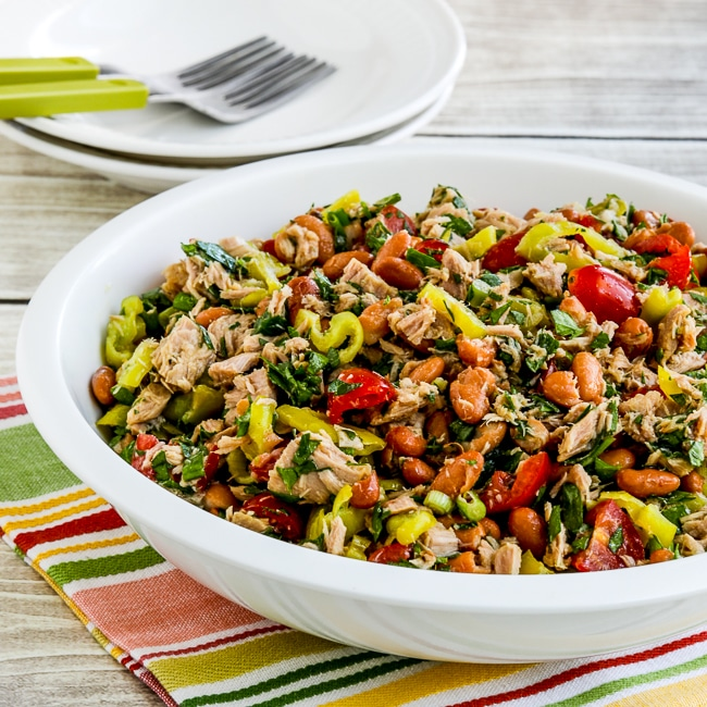 Pinto Bean Salad with Tuna, Tomatoes, and Peperoncini thumbnail image of finished salad in bowl