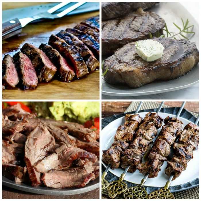 Amazing Low-Carb and Keto Beef Steak on the Grill top collage photo