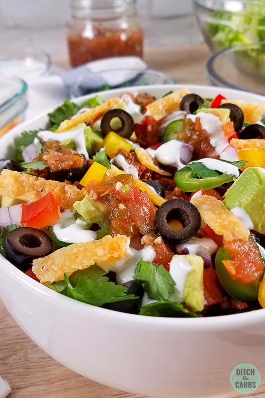 close up of taco salad made from ground beef