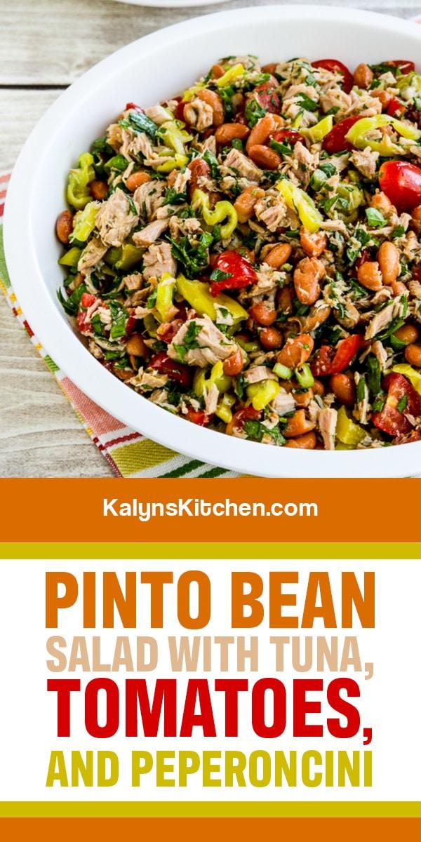 Pinterest image of Pinto Bean Salad with Tuna, Tomatoes, and Peperoncini