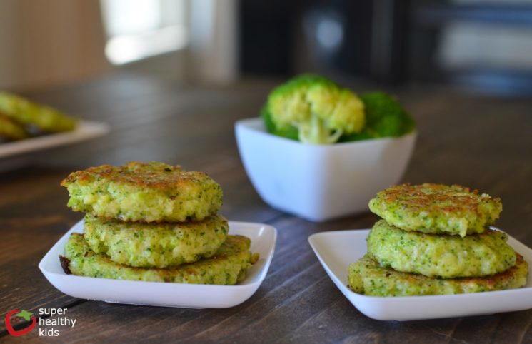stack of broccoli fritters on plates