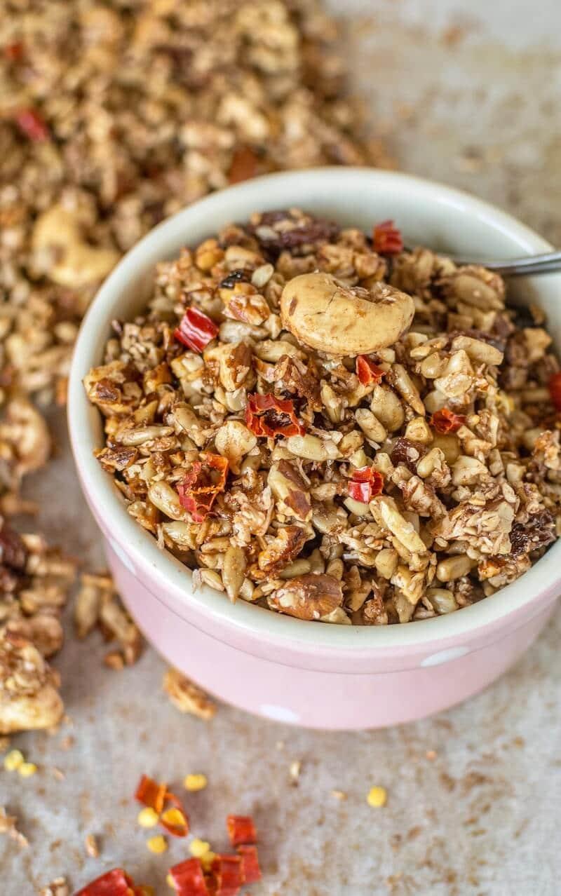 Honey Chili Spiced Granola Recipe gluten free