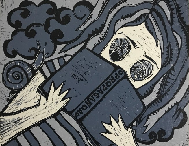 "Birsen Limon Yorukoglu ""Propaganda"" linocut, 20x25cm, 2016"
