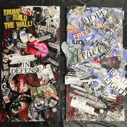 """Jenna Hicks and Jaremy Calderon """"Choices"""" newspaper headlines, magazine articles and clippings, cloth, bottle caps, coins, a dollar bill, a bandaid, printed out tweets, a crushed Pabst Blue Ribbon can, two Jenna Hicks Art prints, blood, fake snow, acrylic paint, lottery tickets, bar receipts and a nail 12""""x24""""each"""