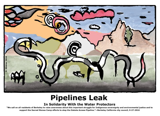 "Doug Minkler ""Pipelines Leak"" digital print"
