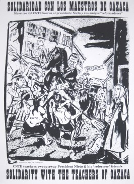 """Poster Syndicate """"Solidarity with the Teachers of Oaxaca"""" screenprint 2016"""