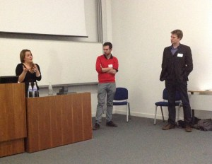 The HtV Team presentation. (From left: Angela Woods, Ben Alderson-Day and Charles Fernyhough)
