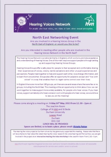 HVN North East Networking Event May 2013 flyer