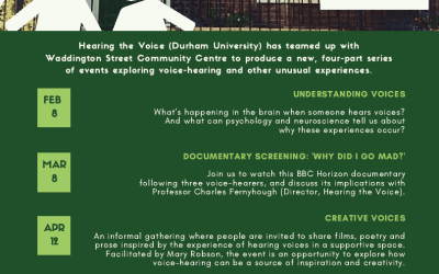 Announcing a new series of events produced by Hearing the Voice and Waddington Street Community Centre, Durham, February – May 2018