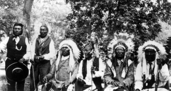 Brady Locks, Little Wolf, Black Crane, and Big Beaver, ca. 1926, Crow Agency, MT