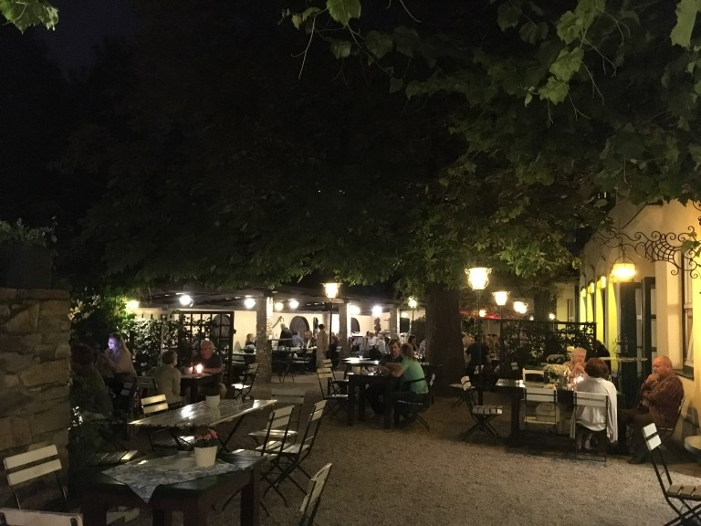 A typical outdoors autumn evening at a wine tavern