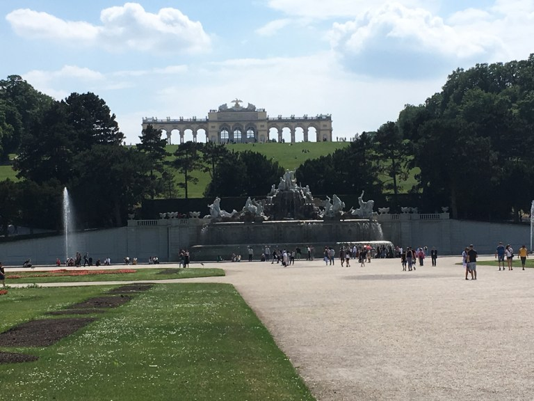 The garden of the Schönbrunn palace park, with the famous Gloriette