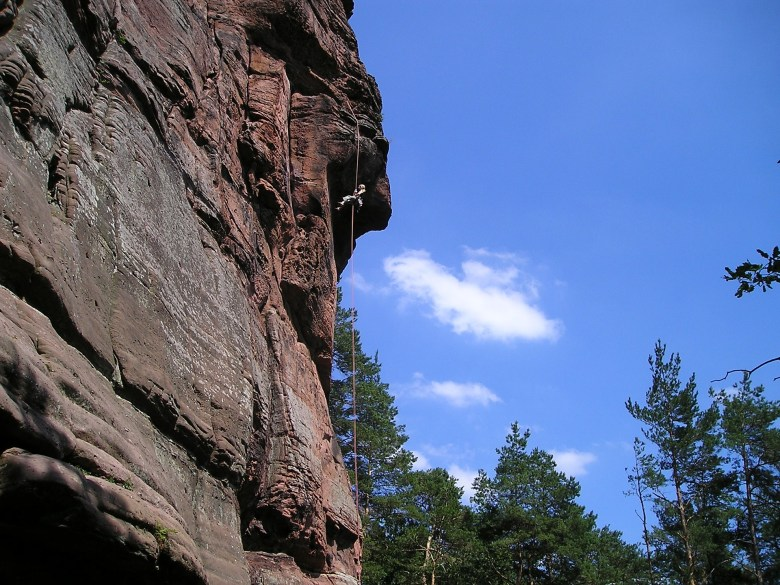 Rock climbing in Palatinate forest