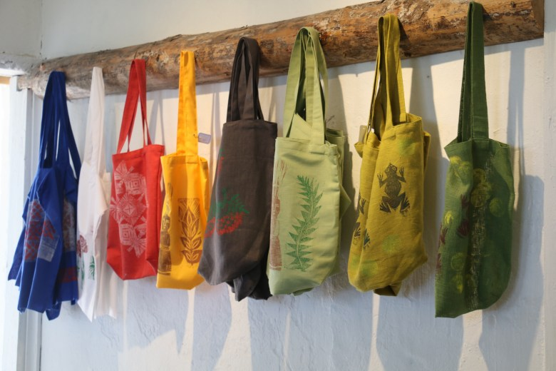 shopping bags with block print patterns