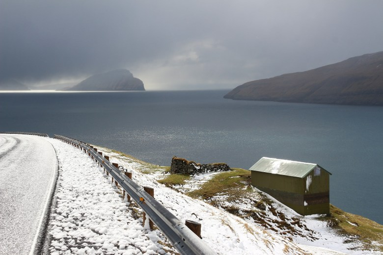 Faroe Islands, covered in beautiful white snow in the winter