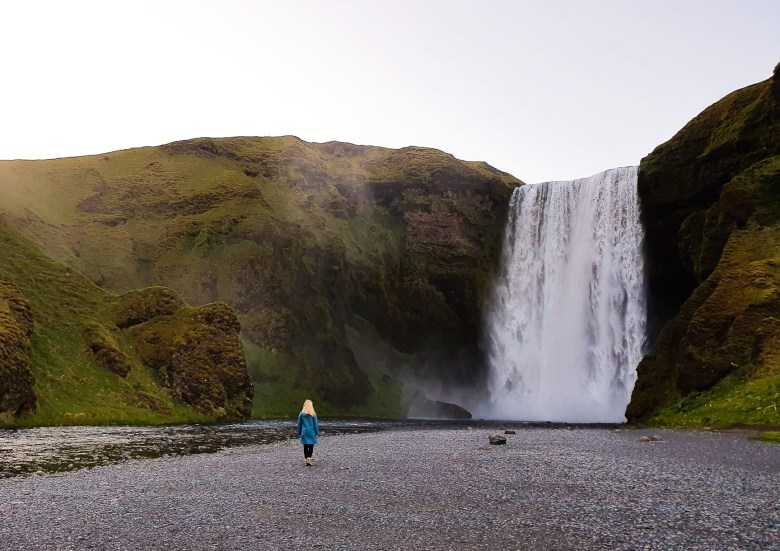 Skogafoss  is a waterfall on the Skógá River in the south of Iceland near Vik
