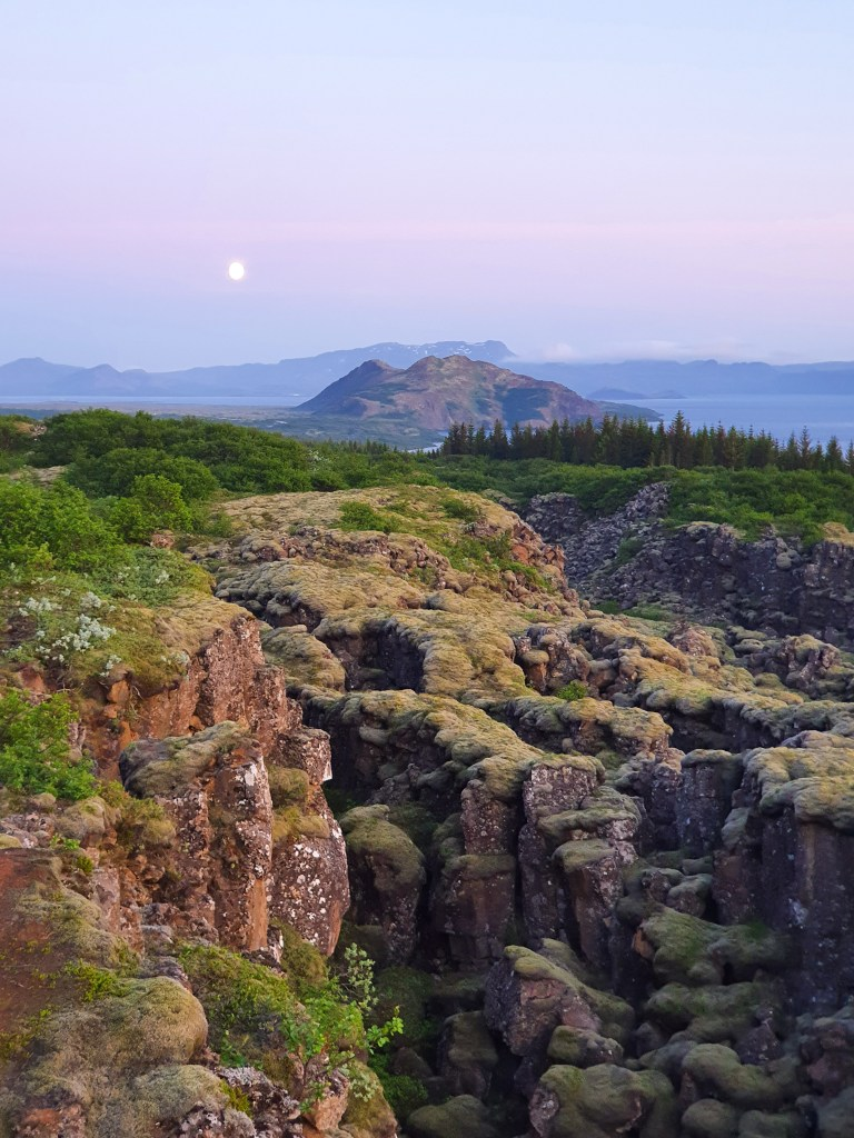 Þingvellir National Park is located in an active volcanic area, about 49 km east of Reykjavík