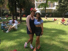 Gemma Cairney and Bip Ling mooching and vox-popping in Soho Square.