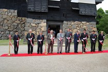 Opening ceremony of the art exhibition at Matsue Castle, Japan on October 2010.