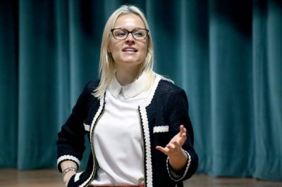 Liv Garfield presents at an assembly for Year 7 students