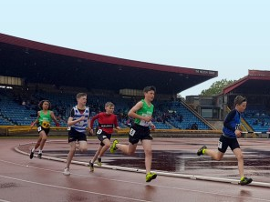 students racing on track