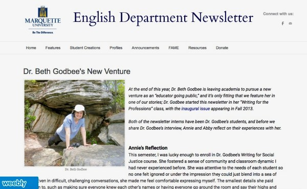 "Screenshot of the Marquette English Department Newsletter showing the first few paragraphs of the article titled ""Dr. Beth Godbee's New Venture."""