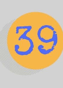 The number 39 printed in blue within an orange circle against a gray background.