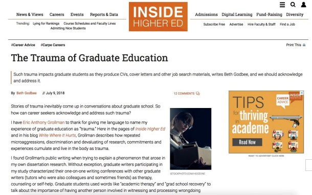 """Screenshot of """"The Trauma of Graduate Education,"""" showing the orange Inside Higher Ed page logo and navigation toolbar at the top followed the title, by-line, and first three paragraphs of the article."""