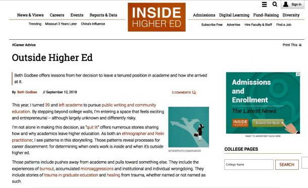 This hyperlinked screenshot shows the article (black text against a white background) as it appears in Inside Higher Ed.