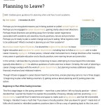 "Screenshot of the article ""Planning to Leave?"" as it appears in Inside Higher Ed, showing the first few paragraphs and an icon of an arrow, representing exit from academia."