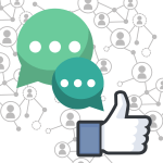 This image shows a Facebook like button (white hand making a thumbs-up sign), along with two chat bubbles and a grey background pattern of lines connecting people to represent social networking.