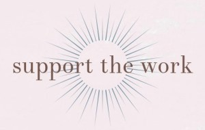 "Icon with the words ""support the work"" surrounded by a circular spiral."