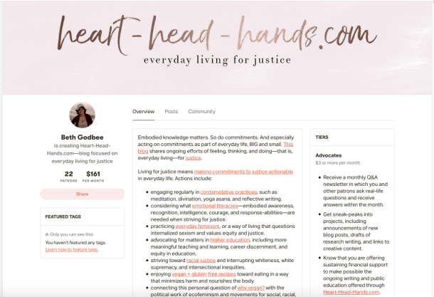 "This screenshot shares the Patreon creator page for Heart-Head-Hands.com -- with description of project and subscription tiers, starting with ""advocates."" The color scheme is pink, brown, and white."