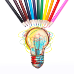 A curved row of colored pencils point toward a colorful lightbulb. Lines shaping the lightbulb reach out up the pencils, linking ideas, creativity, and colorful expression.