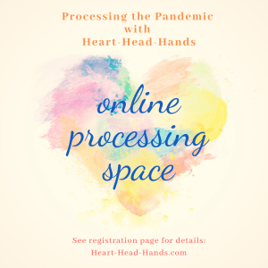 "This ad shows colorful paintbrush strokes shaping a heart and shares the webinar's name ""Processing the Pandemic with Heart-Head-Hands."""