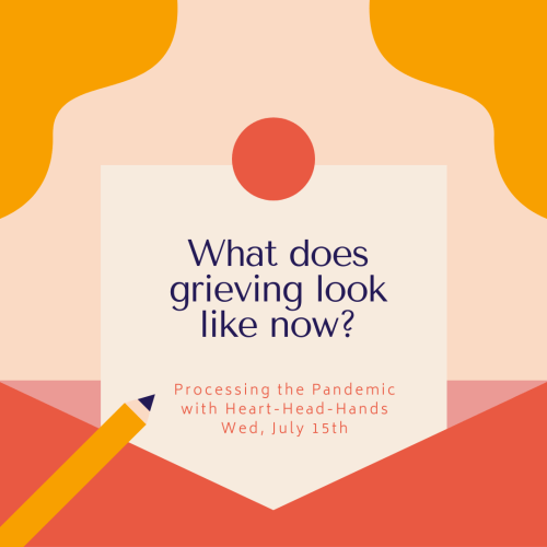 "This image shares this week's question—""What does grieving look like now?""—along with meeting information: ""Processing the Pandemic with Heart-Head-Hands. Wed, July 15th."" Text appears in a central box that looks like a letter partially out of an envelope. The colors are red, orange, and yellow."