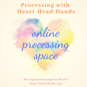 "This image shows colorful paintbrush strokes shaping a heart and shares the webinar's name ""Processing with Heart-Head-Hands."""